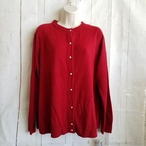 Karen Scott Button Cardigan Petite LXL  Red